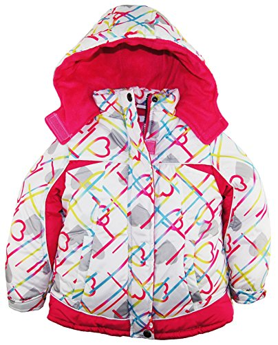 Pink Platinum Little Girls' All Over Hearts Puffer Winter Ski Jacket, White, 6X