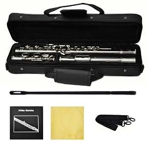 Hallelu HFL-200 Flute W/case Nickel Plated Keys 1 Year Warranty
