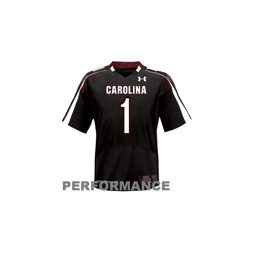 NCAA Under Armour South Carolina Gamecocks #1 Replica Football Jersey   Black (Large)