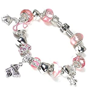 Nambeads.. Children's Pandora style silver plated charm bracelet with Pink Murano & Rhinestone beads & Charms & clip stopper.. The bracelet is supplied in a very nice gift box so a beautiful present for any occasion.