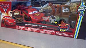 Disney / Pixar CARS 2 Movie Exclusive Air Hogs R/C 124 MOVING EYES Set Lightning McQueen Tow Mater