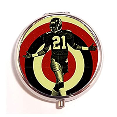 Atlanta Falcons Neon Deion Custom Round Silver Pill Box Pocket 2.0 inches Medicine Tablet Holder Organizer Case for Purse