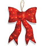 National Tree MZBO-24CL-1 Red Wavy Sisal Bow with 35 Clear Indoor/Outdoor Lights-UL, 24-Inch