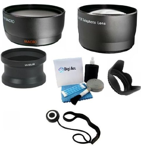 Must Have Lens Kit Includes 0.45X Wide Angle (W/ Macro Portion) And 2.0X Telephoto High Definition Lenses + Lens Adapter + Lens Hood + Cap Keeper + Digi 5 Piece Cleaning Kit For Panasonic Lumix Dmc-Lx5 And Leica D-Lux 5