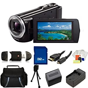 Sony 16GB HDR-CX380 HD Handycam Camcorder with 32GB SD, Reader, Extended Life Replacement Battery, Charger, HDMI, Case - SSE Accessory Kit