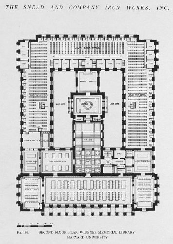 Second floor plan,Widener Memorial Library,Harvard,1915