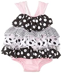 Mud Pie Baby-Girls Newborn Polka Dot Ruffle Bubble, Black/Pink/White, 9-12 Months