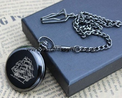 POCKET WATCH SAILING SHIP LOGO PWG8 BLACK CAN BE PERSONALISED ENGRAVED FREE