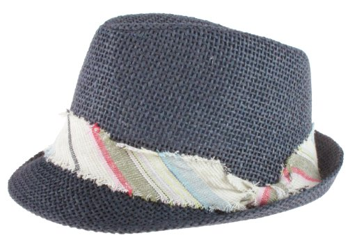 Capelli New York Twisted Paper Fabric Trilby Hat With Woven Stripe. Fabric Band And Knot