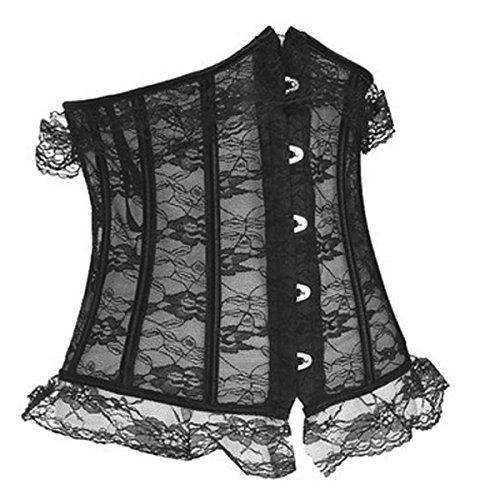 Grebrafan-Black-Underbust-Cupless-lace-up-Waist-Cincher-Corset-Bustier-Party-Costume