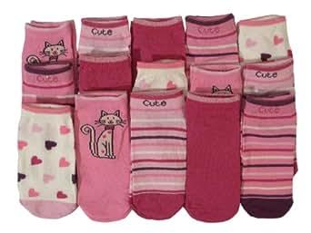 **Bon Marché** filles de 15 paires de chaussettes mignonnes formateur chat (23-26)