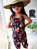 Generic Girls Kids Toddler SZ 2-7Y Gallus Jumpsuit Short Summer Playsuit Soft Clothing (140 for(6-7 Years), navy blue) thumbnail