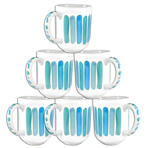 Francois Et Mimi Set Of 6 Large-Sized 18Oz Handpainted Artisan Coffee Mugs (Sky)