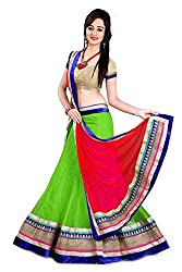Georgette and Net Party Wear Lehenga Choli in Green and Red Colour