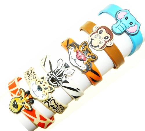 Set of 6 Animal Rubber Bracelets - Monkey, Elephant, Tiger, Leopard, Giraffe & Zebra - Not Suitable For Children Under 36 Months Old