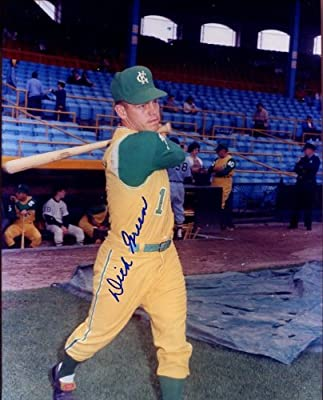 Dick Green (1970s Oakland Athletics Teams) Autographed/ Original Signed 8x10 Photo Showing Him with the Kansas City Athletics in the 1960s - See Our Other Signed Poses with the Oakland A's