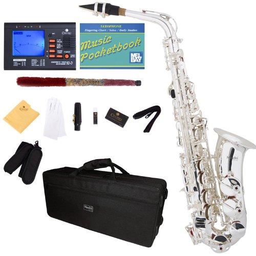 Mendini MAS-30S Silver Plated E Flat Intermediate to Professional Alto Saxophone