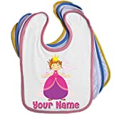 Princess Castle Personalised Baby Bib Blue Pink Yellow or White
