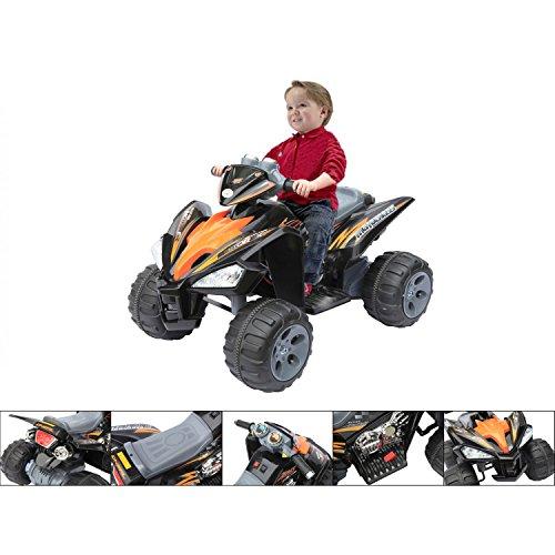 Wonderkid - Quad électrique 12V pour enfants - Design très réaliste et sportif avec couleur noir et orange