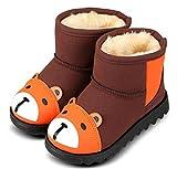(ダダウン)DADAWEN  子供ブーツ スノーブーツ 男女兼用 男の子 女の子 ショートブーツ 熊柄 可愛い 裏ボア 保温 防寒 雪の日 柔らかい 滑り止め 三五七 通学 通園 発表式 結婚式 ブラウン 15CM