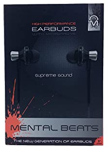 buy Mental Beats High Performance Earbuds With Microphone - Black