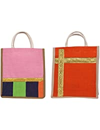 Cristal Bags Jute Shopping Bags (Pack Of 2, Jute-679)