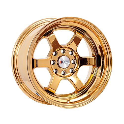 F1R F05 15 Gold Chrome Wheel / Rim 4x100 & 4x4.5 with a 0mm Offset and a 67.1 Hub Bore. Partnumber F05158GC0 (Gold Rims compare prices)
