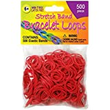 Pepperell Stretch Band Bracelet Loops, Red, 500 Per Package