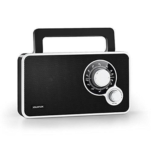 Auna RR-5 mobiles Mini Retro Radio UKW Radio mit AUX (Batterie- und Netz-Betrieb, analoger Anzeige, mit Tragegriff) schwarz