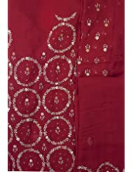Exotic India True-Red Salwar Kameez Fabric With Embroidered Flowers And Se - Red