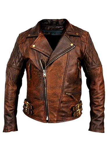 Mens Biker Motorcycle Vintage Distressed Brown Winter Leather Jacket (L, Brown)