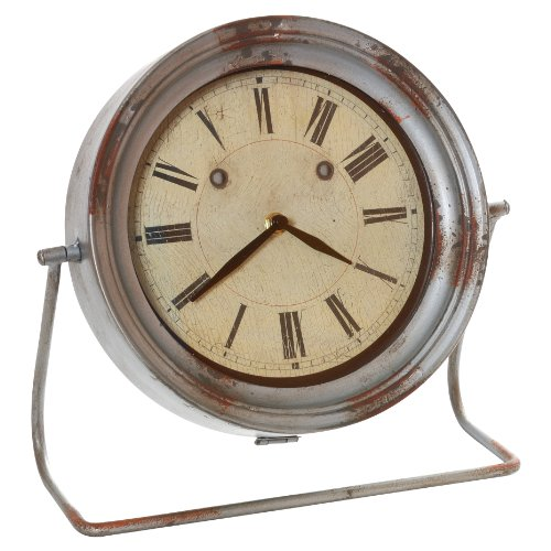Wilco Imports Distressed Grey Metal Table Clock