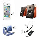 3.5mm USB Bluetooth Wireless Audio Music Receiver Adapter for Iphone 5 Speakers (Black)