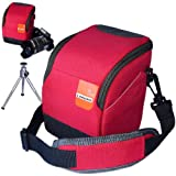 First2savvv high quality anti-shock red Nylon camera case bag for Nikon 1v2 + camera tripod