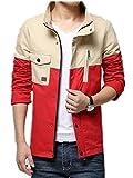 【TPGROWIN】メンズ ジャケット バイカラー ブルゾン テーラ品質 アウター デート お洒落 お呼ばれ フィットネス 春 秋 全4色 (2XL, レッド)