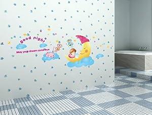 Wall sticker good night baby girl on the moon kids nursery wall art