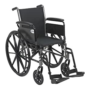 """Drive Medical Drive Medical Cruiser III Light Weight Wheelchair with Various Flip Back Arm Styles and Front Rigging Options, Black, 20"""""""