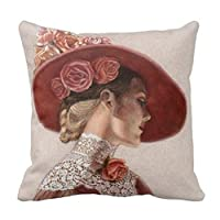 """Elegant Throw Pillow Case Victorian Lady Art Floral Roses Hat Pillow Cover 18 x 18"""" for Sofa from Fiuoleiw"""