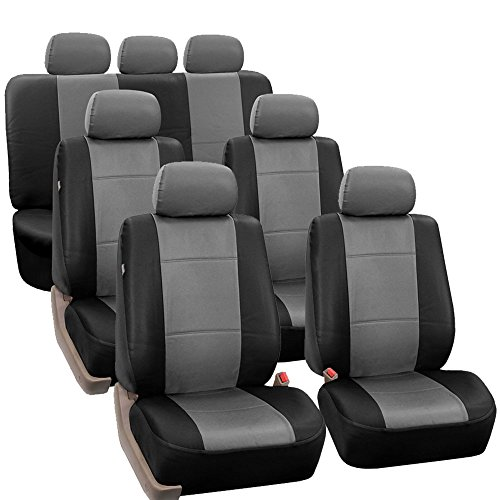 FH-PU002-1217 3 Row PU Leather Car Seat Covers w. 7 Headrests, Airbag compatible and Split Bench, Gray / Black color