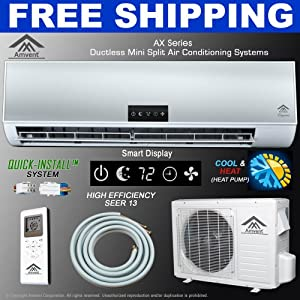 black friday deals get amvent 12000 btu 1 ton ductless wall mount mini split room air. Black Bedroom Furniture Sets. Home Design Ideas