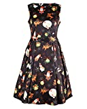 OUGES Women's Christmas Gifts Fit and Flare Cocktail Dress(Black Xmas-02,S)