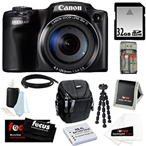 Canon Powershot SX510 HS CMOS 12.1MP 1080p 30x Optical Zoom Digital Camera + Additional Battery + 32GB Memory Card + Camera Case + Accessory Kit