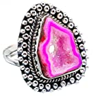 Ana Silver Co Pink Geode Slice 925 Sterling Silver Ring Size 8