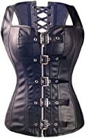 Kiwi-Rata Women's Faux leather Overbust buckle Corset G-string