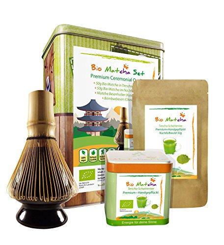 BIO-MATCHA-SET-100g-Organic-Matcha-Tee-Kusenaoshi-Bambusbesenhalter-Chasen-Bambusbesen-Premium-Grnteepulver-Ceremonial-Grade-im-Geschenkset