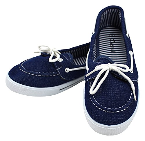 Enimay Women's Original Style Slip-On Casual Canvas Boat Shoe Loafer Flats Denim 7.5