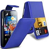 Gadget Giant Samsung Galaxy S2 i9100 Blue PU Leather Flip WALLET Case Cover & LCD Screen Protector & Touch Screen Stylus - 2 Internal Card Slots