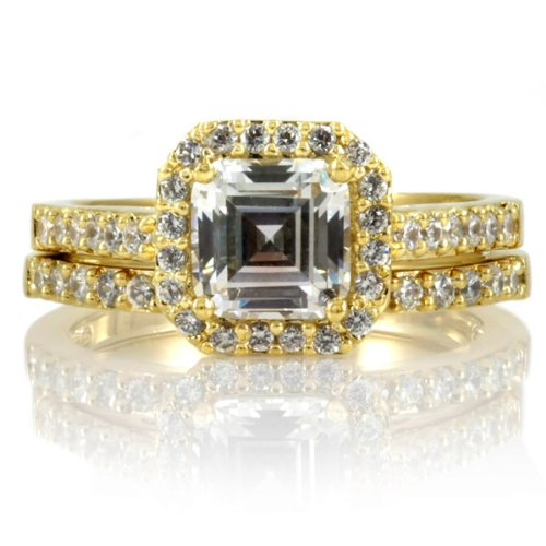 Celebrity Star Emitations Devon's 1.5 CT Asscher Cut CZ Wedding Ring Set Size 5