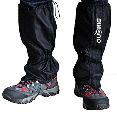 BINGUO Outdoor Essential Unisex Double Sealed Velcro Zippered Closure Waterproof High Leg Gaiters Legging Cover 1 Pair