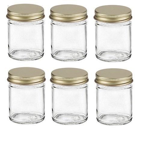Nakpunar 6 pcs , 2 oz Glass Jars for Creams, Spice, Honey, Jams